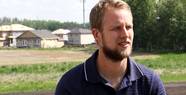 Darren Haarsma, during his research for ALI's project 'Economic Evaluation of Farmland Conversion and Fragmentation in Alberta'.
